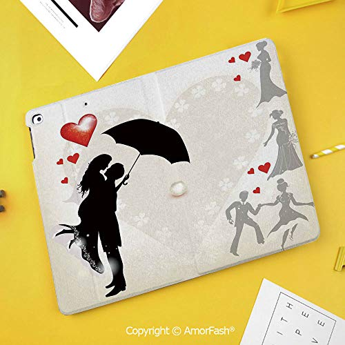 (Printed Case for Samsung Galaxy Tab S4 Corner Protection Premium Vegan Leather Stand Cover,Wedding Decorations,Couple in Love Umbrella Red Hearts Daisies Romance in The Air,Black White Red)