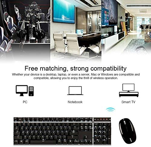 Black DSKFDK A3008 Laptop Computer Office Gaming Wireless Mechanical Keyboard Mouse Set Black