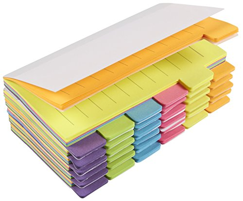 Pack of 6 Index Tabs - Divider Sticker Notes, 360 Ruled Notes, Bookmark Stickers- Color Coded for Students, Office Use, Home Use, 3 x 5 Inches