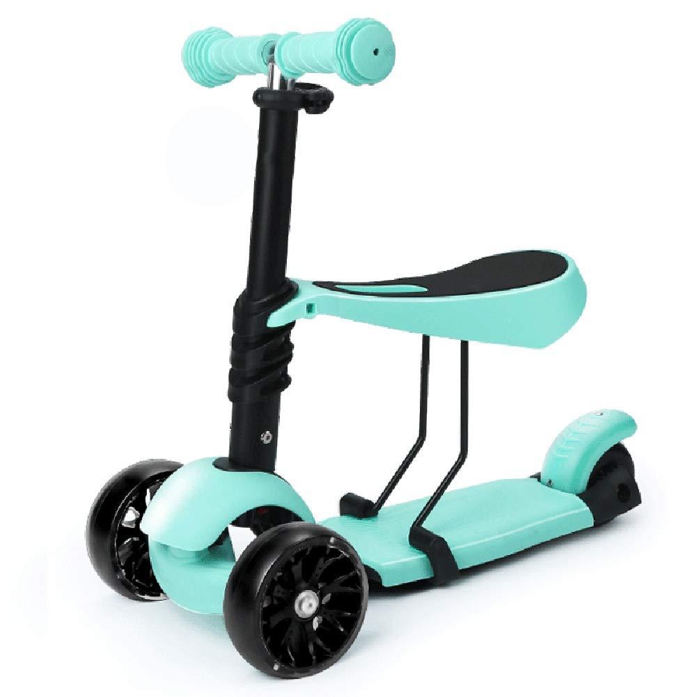 人気絶頂 キックスクーター三輪車スケートボードペダル式乗用スタントスクーター折りたたみ TバーハンドルLEDライトアップホイール付き座席付き調節可能な B07H8Z8Z1Z Green B07H8Z8Z1Z Green, 松川村:8523fabf --- a0267596.xsph.ru