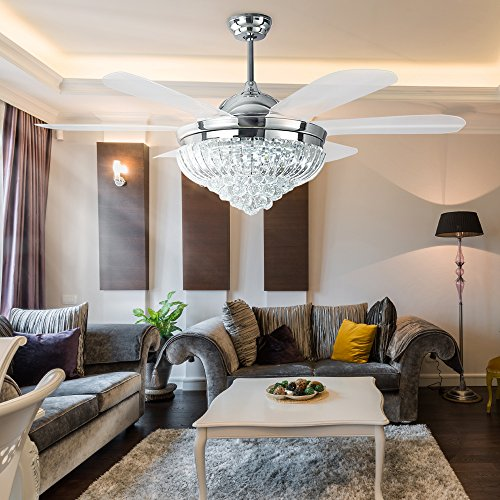 Crystal Led Ceiling Fan Chandelier With Remote and Light 6 Plastic Blades Chromn 52 Inch Quiet For Home Decoration Living Room Bedroom Restaurant
