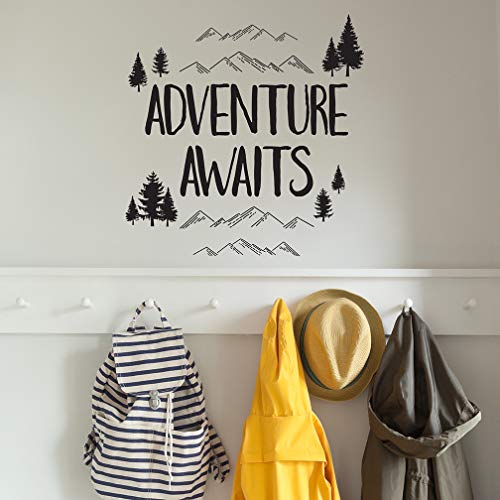 Paper Riot Co. Wall Decor - Inspirational Quote. Peel and Stick Wall Decals - Easy to Remove Black Vinyl Quote - Adventure Awaits. DIY Decoration (Decor Vinyl Decal)