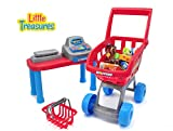 Little Treasures Mini Size Supermarket PlaySet – realistic pretend play of grocery shopping spree for kids