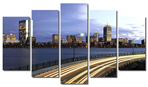 Picture Sensations Framed 5-Panel canvas Art Print, Boston Downtown Highway City Skyline - - In Downtown Boston
