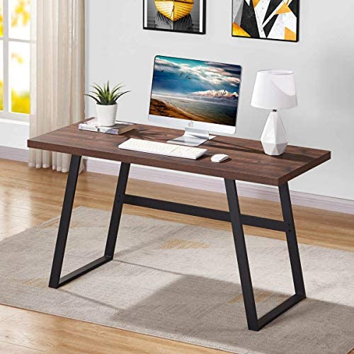 BON AUGURE Industrial Computer Desk, Sturdy Wood Writing Desk, Modern Simple Home Office Desks (55 Inch, Rustic Oak)