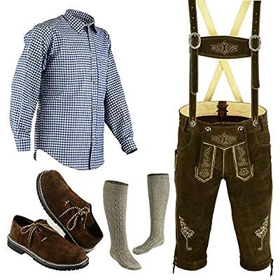 Bavarian Oktoberfest Trachten Lederhosen Bundhosen Costume Brown 4 Pc Complete Set