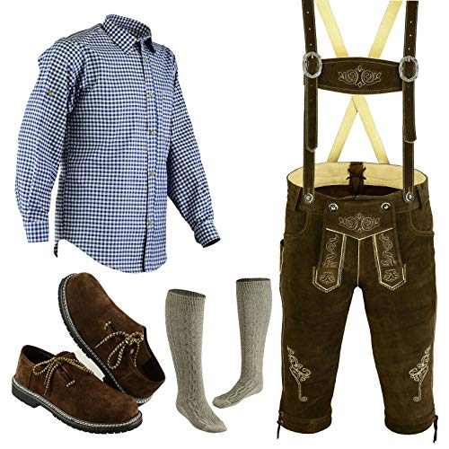 Bavarian Oktoberfest Trachten Lederhosen Bundhosen Costume Brown 4 pc Set (36)]()