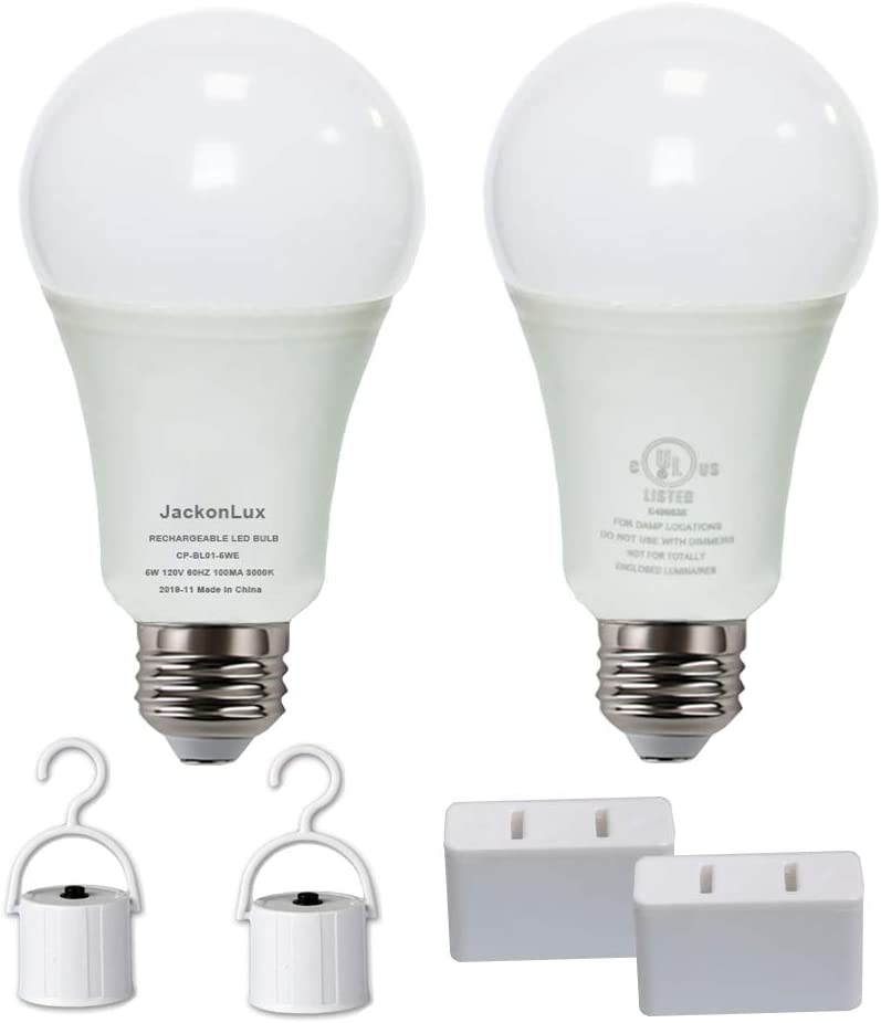 JackonLux Rechargeable Emergency Light Bulbs UL Listed Battery Operated Light Bulb for Power Failure Camping Hurricane 5W 500 Lumens Soft White 5000K E26 120 Volt 2-Pack