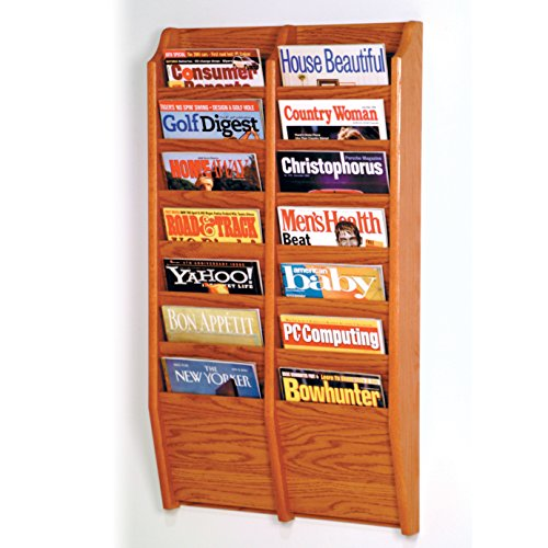 Wooden Mallet 14-Pocket Cascade Magazine Rack, Medium Oak