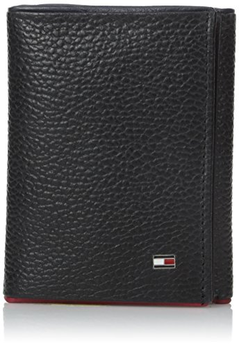 Tommy Hilfiger Men's Raymond Trifold Exterior with Id Wallet, Black, One Size (Tommy Hilfiger Pebble)
