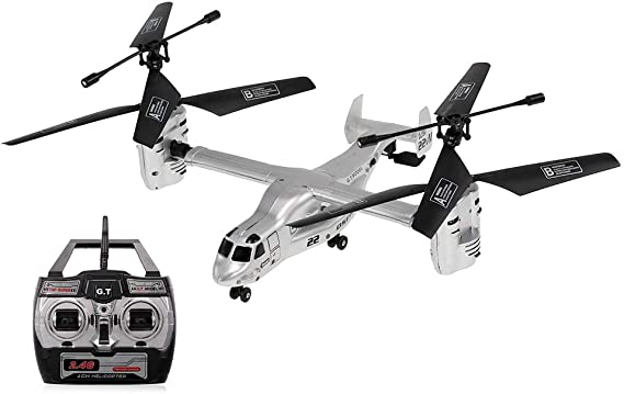Goolsky Remote Control Osprey Helicopter 2.4G 4CH Dual Axis RC Drone with Double Gyro and Headlamp for Cool Kids' Toy