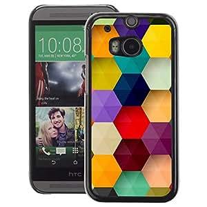 A-type Arte & diseño plástico duro Fundas Cover Cubre Hard Case Cover para HTC One M8 (Polygon Hexagon Purple Pastel Mint)