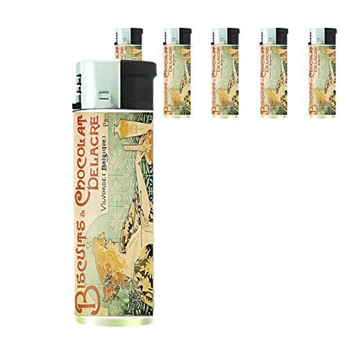Refillable Electronic Lighter Set of 5 Pieces D-055 Biscuits & Chocolat Delacre