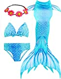 Jeferym 4PCs Girls Mermaid Swimsuits for Swimming Bikini Set for Toddler Teen Girls Can add Monofin D Light Blue 10-14 Years 150