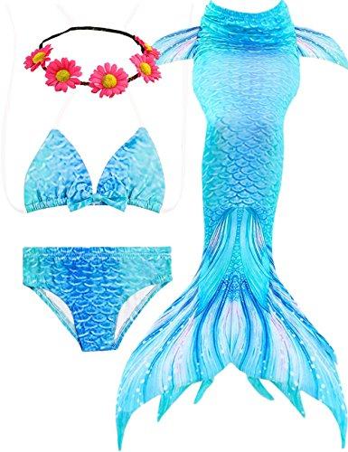 - Jeferym 4PCs Girls Mermaid Swimsuits for Swimming Bikini Set for Toddler Teen Girls Can add Monofin D Light Blue 5-6 Years 120