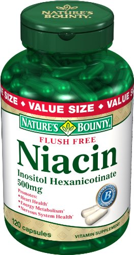 Nature Bounty Flush Niacin gratuit 500 mg, 120-Comte