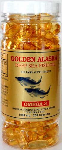 Golden Alaska Deep Sea Fish Oil, Omega 3, DHA/EPA 1000 mg 200 Softgels, FRESH Good Product
