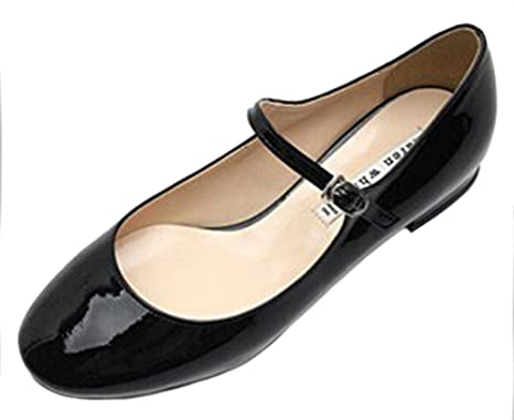38fa6fd7cf KAREN WHITE Women's Mary Jane Flats Patent Leather Pointed Toe Shoes,  Availble in Black and
