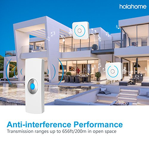 Holahome Wireless Doorbell - Waterproof Portable Door Bell Chime Kit Push Button with 2 Portable Receivers 32 Melodies Wireless Door Alarm Chime Long Range Battery Operated for Home Office White by holahome (Image #4)