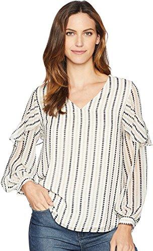 Calvin Klein Women's Bubble Sleeve w/Ruffle Detail Soft White/Latte Small