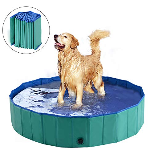 "PawHut 12"" x 60"" Collapsible PVC Pet Foldable Swimming Pool Dog Bathing Tub - Green / Blue"