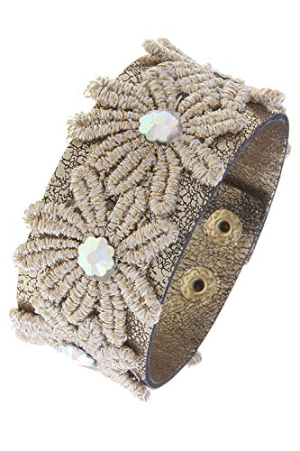 TRENDY FASHION JEWELRY CRYSTAL ACCENT FLORAL CROCHET WRAP BRACELET BY FASHION DESTINATION | Beige