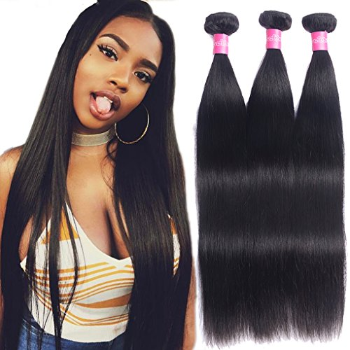 Brazilian Straight Virgin Hair Weave 3 Bundles 10A Grade 100% Unprocessed Brazilian Hair Bundles Straight Human Hair Extensions 14 16 18 inches Natural Color