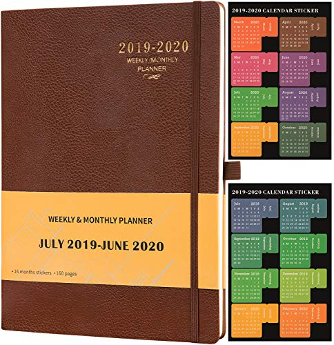 "Planner 2019-2020 - Academic Weekly & Monthly Planner + Soft Cover with Pen Holder and Thick Paper, Back Pocket with Julian Date - Bonus 24 Notes Pages + Gift Box - 8.5"" x 11"""