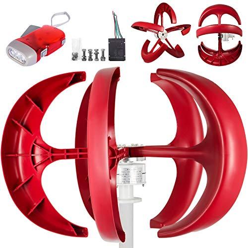 Happybuy Wind Turbine 600W 12V Wind Turbine Generator Red Lantern Vertical Wind Generator 5 Leaves Wind Turbine Kit with Controller No Pole