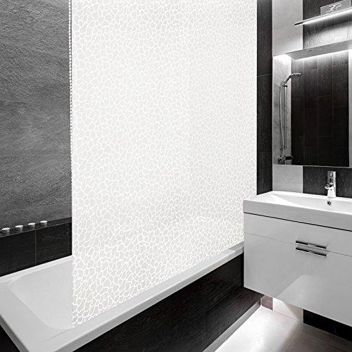 Design Duschrollo MILKY STONE | viele Größen | schnelltrocknend | Deckenbefestigung mit Halbkassette | halbtransparent, Stein Mosaik | 80x240cm (BxL)