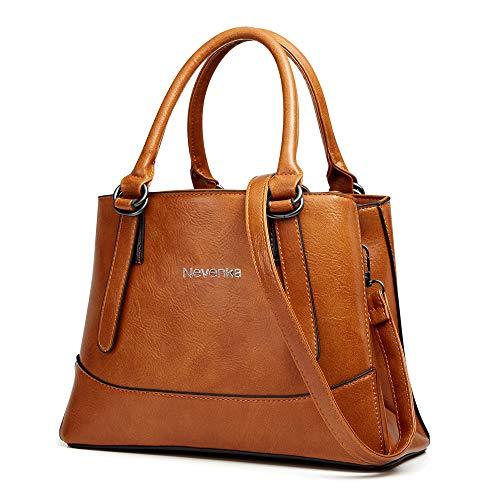 Nevenka PU Leather Women Cross Body Shoulder Bag Satchel Handbags Top-handle Bag Tote Bag (Brown)