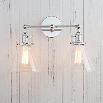 Permo Double Sconce Vintage Industrial Antique 2-lights Wall Sconces with Funnel Flared Glass Clear  sc 1 st  Amazon.com & Permo Double Sconce Vintage Industrial Antique 2-lights Wall Sconces ...