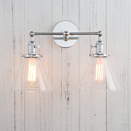 Permo Double Sconce Vintage Industrial Antique 2 Lights Wall Sconces With  Funnel Flared Glass Clear Glass Shade (Chrome)