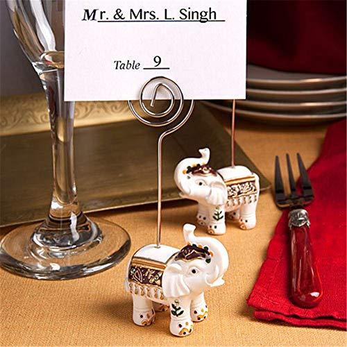 Pack of 5 Wedding Favor Good Luck Elephant Place Card Holders Wedding Shower Favors ()