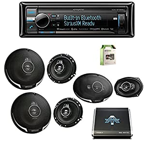 "Kenwood KDCBT858U CD Player BT USB Receiver w/Kenwood KFC1695PS 6.5"" 3-way 320W Car SPKR (2-Pairs), Kenwood KFC6995PS 6""X9"" 5-Way SPKR 650W (Pair), Autotek 1000W 4 Chan Amp & Enrock 18G 50' SPKR Wire"