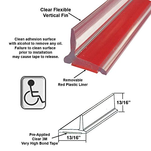 (Clear Polycarbonate ADA Friendly Stick Down Shower Threshold with Pre-Applied 3M Very High Bond Tape - 60