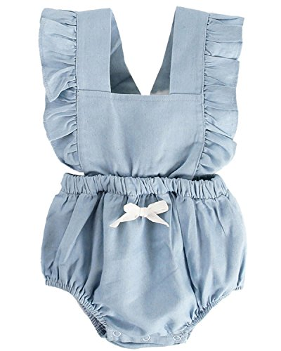 DeerBird Newborn Infant Baby Girl Ruffle Sleeve Bowknot Rompers Bodysuits Short Jumpsuits Size 12M Blue