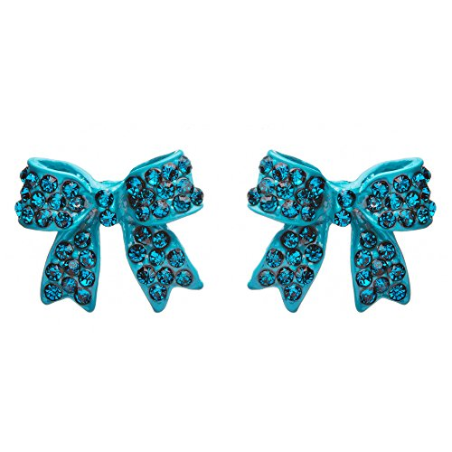 Pave Crystal Bow - Fashion Crystal Pave Bow Ribbon Stud Earrings Teal