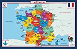 Tot Talk France Geography Educational Placemat for Kids, Washable and Long-Lasting