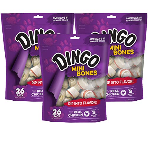 Dingo Mini Bones, Rawhide for Small or Toy Dogs, Made w/Real Chicken (26-Count, 3-Pack)