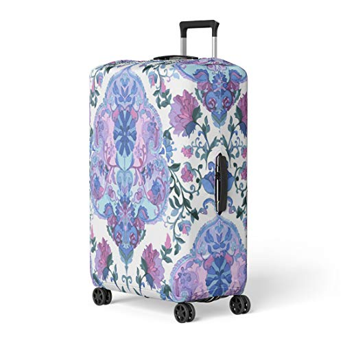Pinbeam Luggage Cover Watercolor Paisley Cold Colors Indian Persian Turkish Handdrawn Travel Suitcase Cover Protector Baggage Case Fits 22-24 -