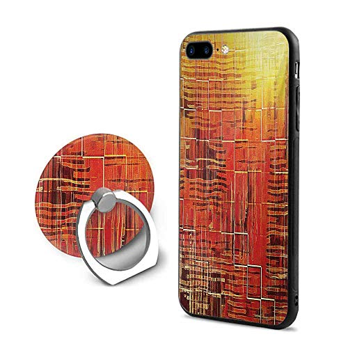 Burnt Orange iPhone 7 Plus/iPhone 8 Plus Cases,Modern Mosaic Art Texture with Small Frames and Lines Fall Illustration Orange Yellow,Design Mobile Phone Shell Ring Bracket