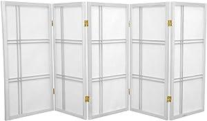 Oriental Furniture 3 ft. Tall Double Cross Shoji Screen - White - 5 Panels