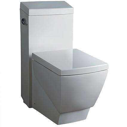 black square toilet seat. Fresca Bath FTL2336 Apus 1 Piece Square Toilet with Soft Close Seat