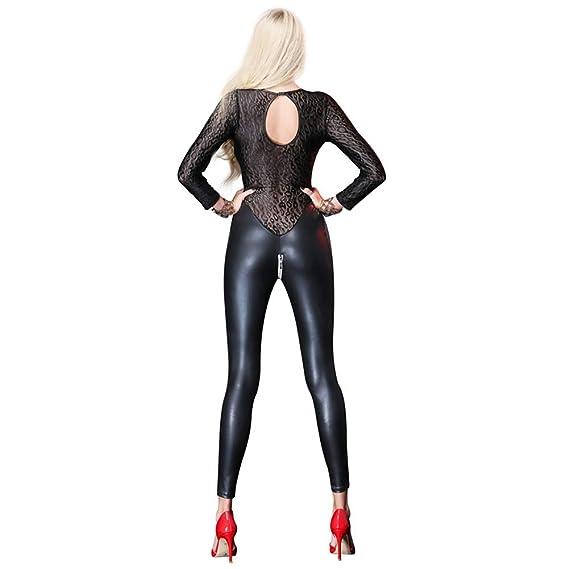 Mono Latex Wet Look Catsuit Medias siamesas, ropa interior atractiva de las mujeres de charol de malla de malla de costura locomotoras uniformes de ...