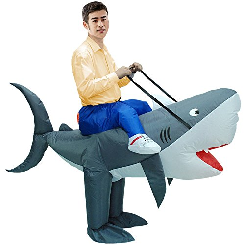 Shark Fancy Dress Costumes (Inflatable Rider Costume Fancy Dress Funny Shark Dolphin Funny Suit Mount For Adult)