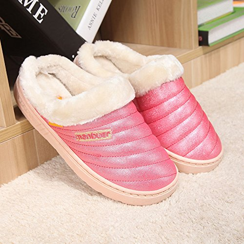 Fankou Autunno e Inverno candy in cotone colore pantofole cartoon home pantofole pavimento interno morbido, disattivato le coppie calde pantofole ,41, anguria Red 066