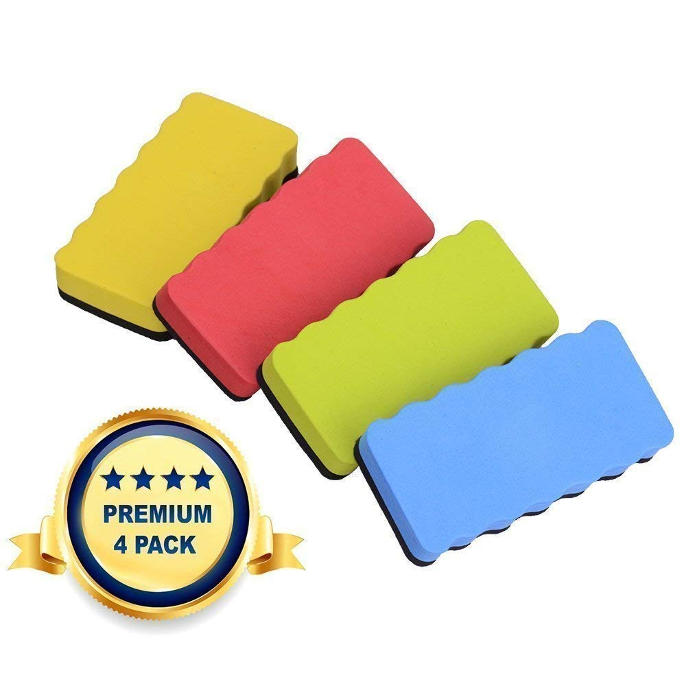 Ilyever Set of 4 Magnetic Whiteboard Eraser For Dry Erase Pens And Markers, Great For Home, School And Office - 4 X 2 X 0.8 Inch