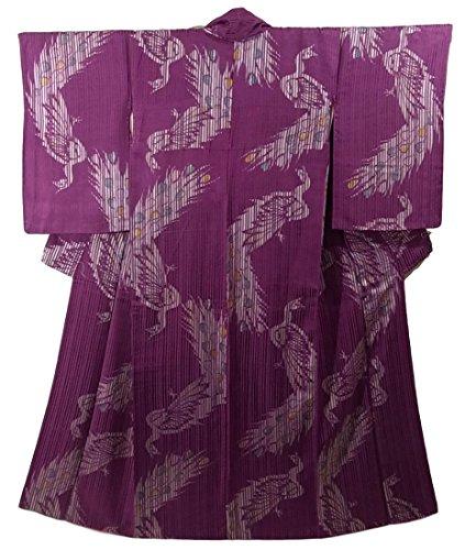 アンティーク 着物 正絹 袷 クジャクの文様 裄62.5cm 身丈155cm