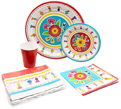 Fiesta Time Pack! Disposable Paper Plates, Napkins and Cups Set for 15 (With free - Plate Paper Turkey